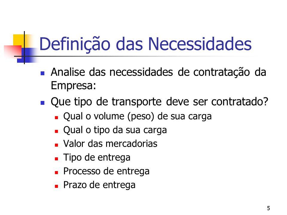 5 Definição das Necessidades Analise das necessidades de contratação da Empresa: Que tipo de transporte deve ser contratado? Qual o volume (peso) de s