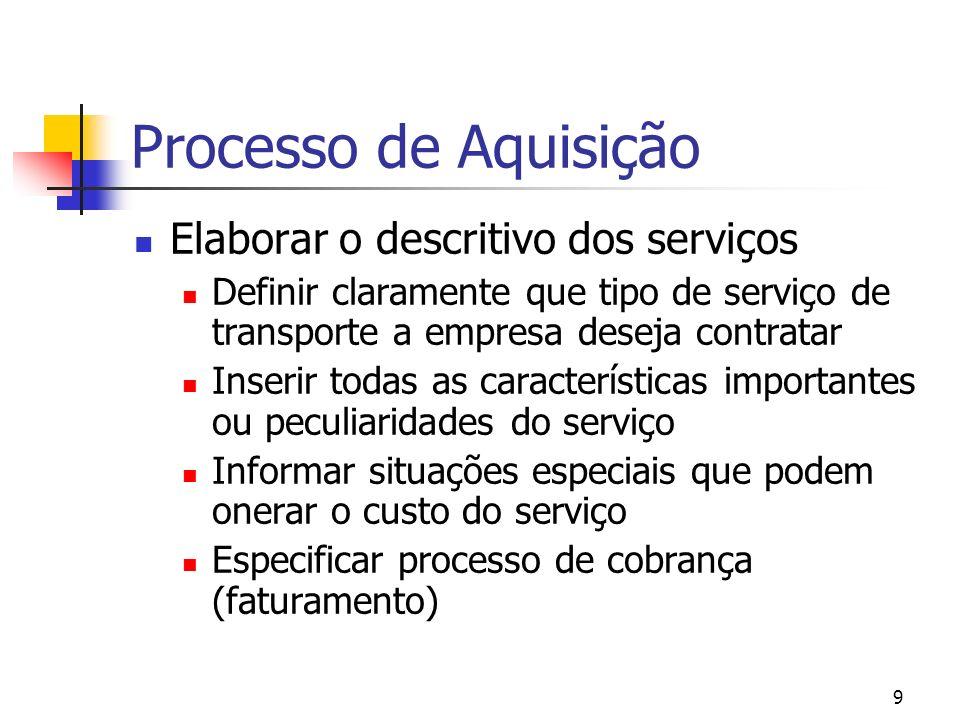 9 Processo de Aquisição Elaborar o descritivo dos serviços Definir claramente que tipo de serviço de transporte a empresa deseja contratar Inserir tod