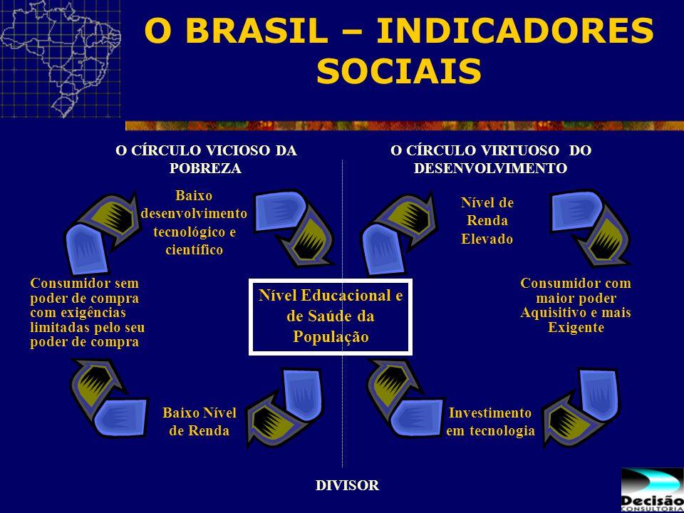 O BRASIL – INDICADORES SOCIAIS Baixo desenvolvimento tecnológico e científico Baixo Nível de Renda Nível Educacional e de Saúde da População Consumido