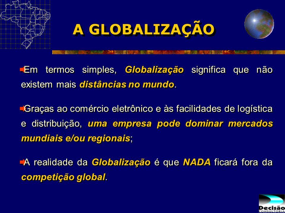 A GLOBALIZAÇÃO Em termos simples, Globalização significa que não existem mais distâncias no mundo. Graças ao comércio eletrônico e às facilidades de l