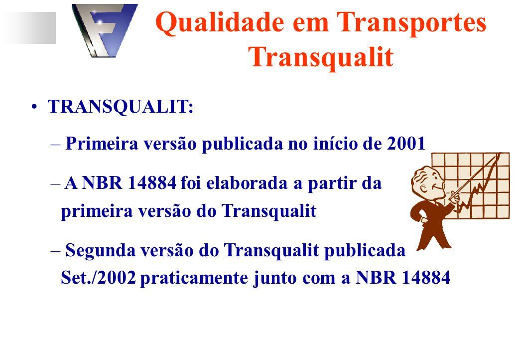 TRANSQUALIT: – Primeira versão publicada no início de 2001 – A NBR 14884 foi elaborada a partir da primeira versão do Transqualit – Segunda versão do Transqualit publicada Set./2002 praticamente junto com a NBR 14884 Qualidade em Transportes Transqualit