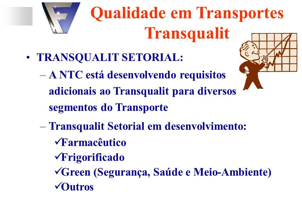TRANSQUALIT SETORIAL: –A NTC está desenvolvendo requisitos adicionais ao Transqualit para diversos segmentos do Transporte –Transqualit Setorial em desenvolvimento: Farmacêutico Frigorificado Green (Segurança, Saúde e Meio-Ambiente) Outros Qualidade em Transportes Transqualit