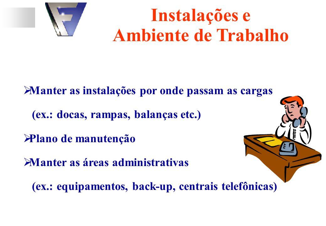 Manter as instalações por onde passam as cargas (ex.: docas, rampas, balanças etc.) Plano de manutenção Manter as áreas administrativas (ex.: equipamentos, back-up, centrais telefônicas) Instalações e Ambiente de Trabalho