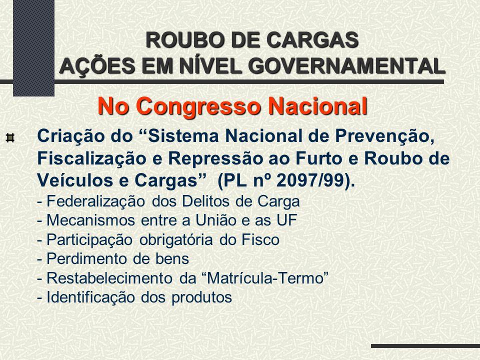 ROUBO DE CARGAS AÇÕES EM NÍVEL GOVERNAMENTAL No Congresso Nacional Criação do Sistema Nacional de Prevenção, Fiscalização e Repressão ao Furto e Roubo