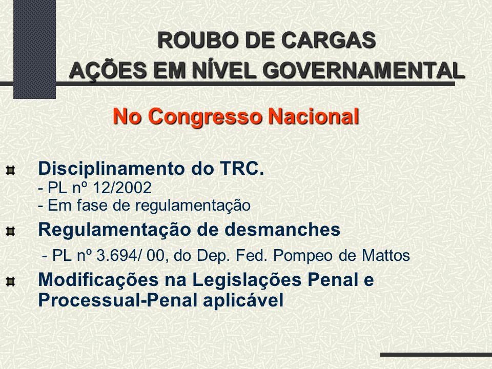 ROUBO DE CARGAS AÇÕES EM NÍVEL GOVERNAMENTAL No Congresso Nacional Disciplinamento do TRC. - PL nº 12/2002 - Em fase de regulamentação Regulamentação