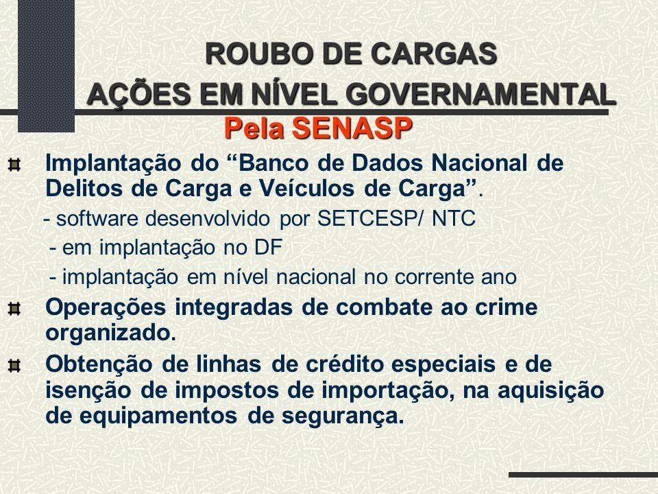 ROUBO DE CARGAS AÇÕES EM NÍVEL GOVERNAMENTAL Pela SENASP Implantação do Banco de Dados Nacional de Delitos de Carga e Veículos de Carga. - software de