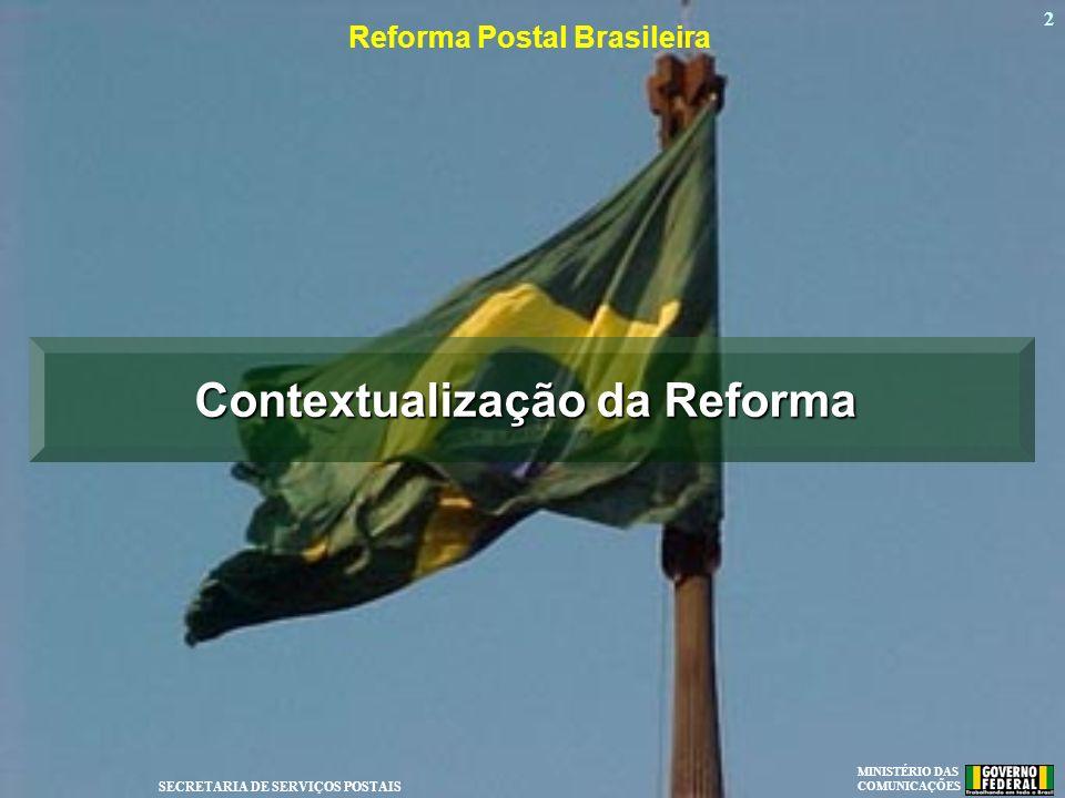 MINISTÉRIO DAS COMUNICAÇÕES SECRETARIA DE SERVIÇOS POSTAIS 2 Reforma Postal Brasileira Contextualização da Reforma