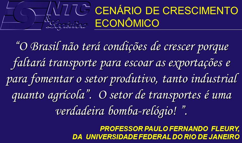 O Brasil não terá condições de crescer porque faltará transporte para escoar as exportações e para fomentar o setor produtivo, tanto industrial quanto
