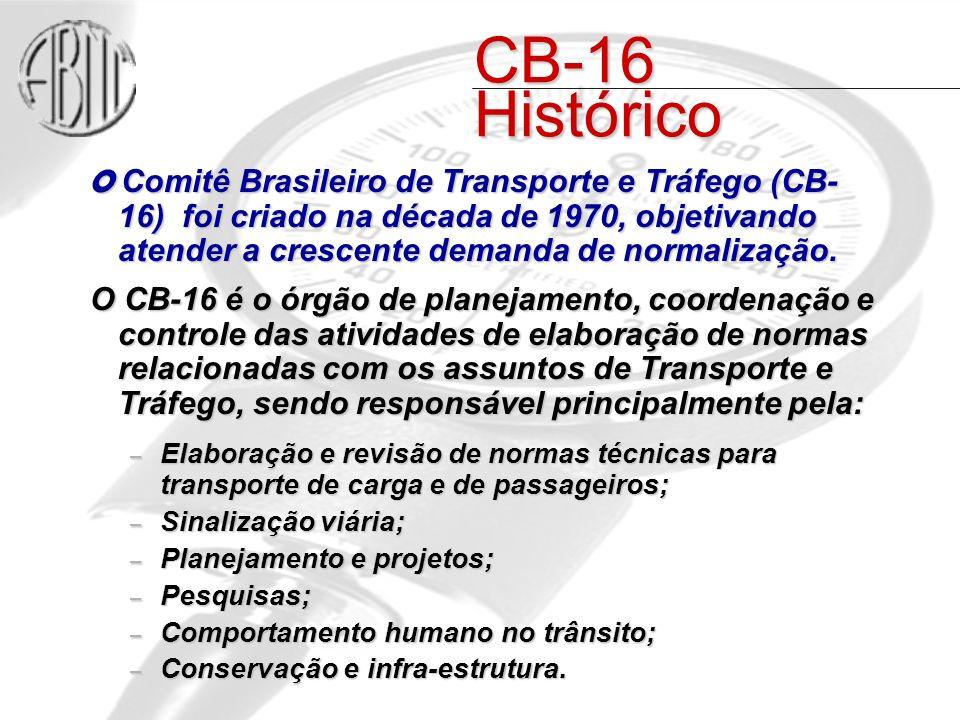 CB-16 Histórico O Comitê Brasileiro de Transporte e Tráfego (CB- 16) foi criado na década de 1970, objetivando atender a crescente demanda de normalização.
