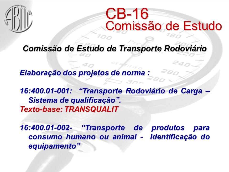 Comissão de Estudo de Transporte Rodoviário Elaboração dos projetos de norma : 16:400.01-001: Transporte Rodoviário de Carga – Sistema de qualificação.