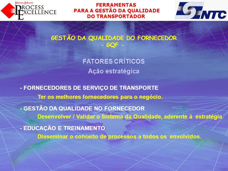 FERRAMENTAS PARA A GESTÃO DA QUALIDADE PARA A GESTÃO DA QUALIDADE DO TRANSPORTADOR - FORNECEDORES DE SERVIÇO DE TRANSPORTE Ter os melhores fornecedore