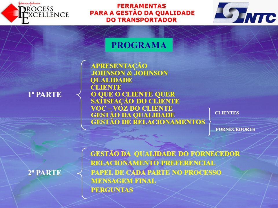 FERRAMENTAS PARA A GESTÃO DA QUALIDADE PARA A GESTÃO DA QUALIDADE DO TRANSPORTADOR Muito obrigado JOHNSON & JOHNSON CONSUMER PRODUCTS CARLOS FERNANDO TOLOMELLI Logística e Serviço a Cliente ROD.