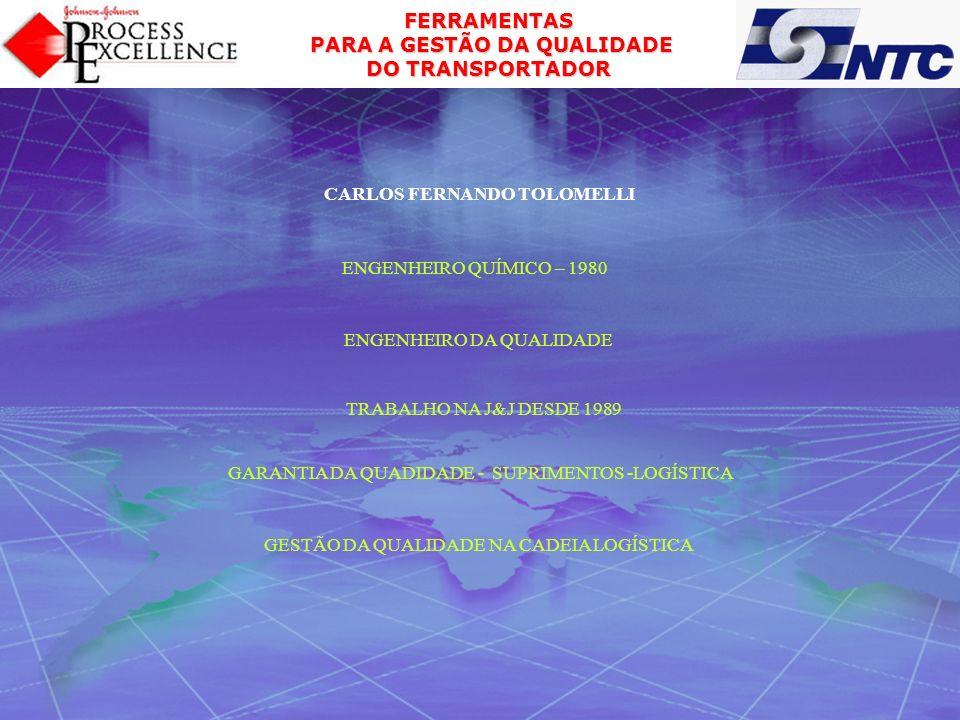 FERRAMENTAS PARA A GESTÃO DA QUALIDADE PARA A GESTÃO DA QUALIDADE DO TRANSPORTADOR CARLOS FERNANDO TOLOMELLI ENGENHEIRO QUÍMICO – 1980 ENGENHEIRO DA Q