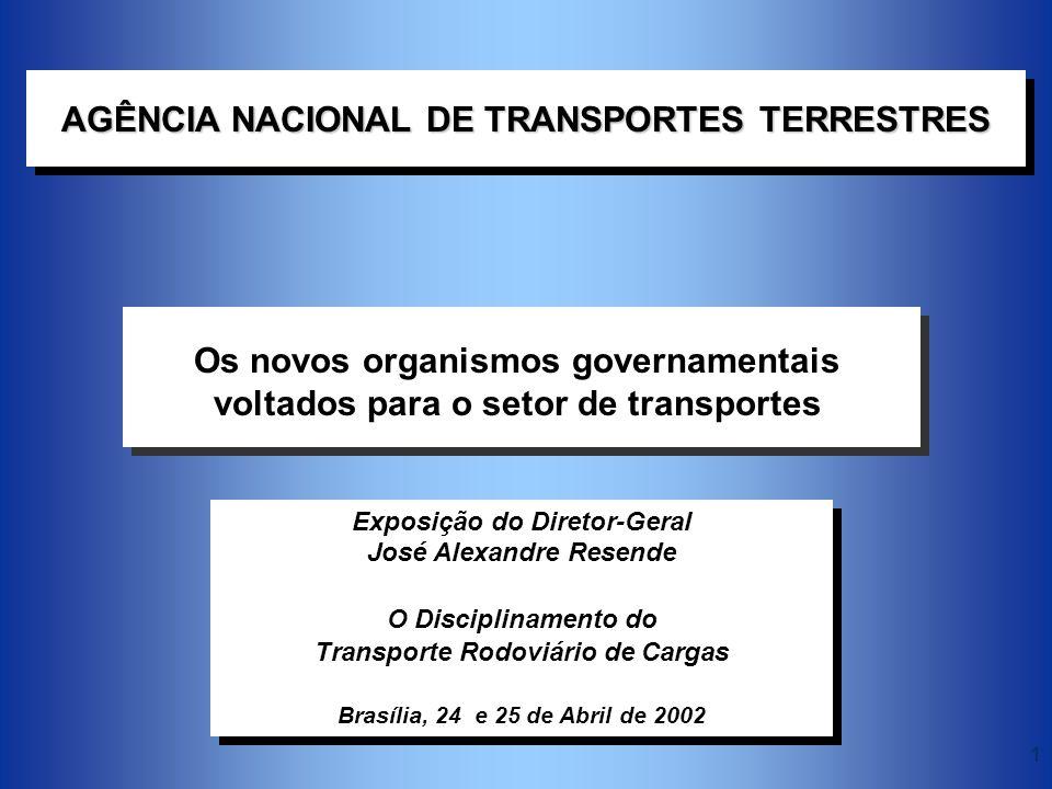 1 Exposição do Diretor-Geral José Alexandre Resende O Disciplinamento do Transporte Rodoviário de Cargas Brasília, 24 e 25 de Abril de 2002 AGÊNCIA NA