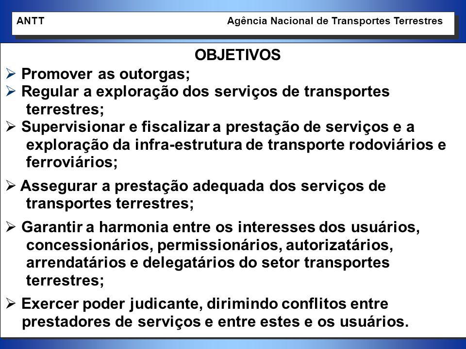 12 OBJETIVOS Promover as outorgas; Regular a exploração dos serviços de transportes terrestres; Supervisionar e fiscalizar a prestação de serviços e a