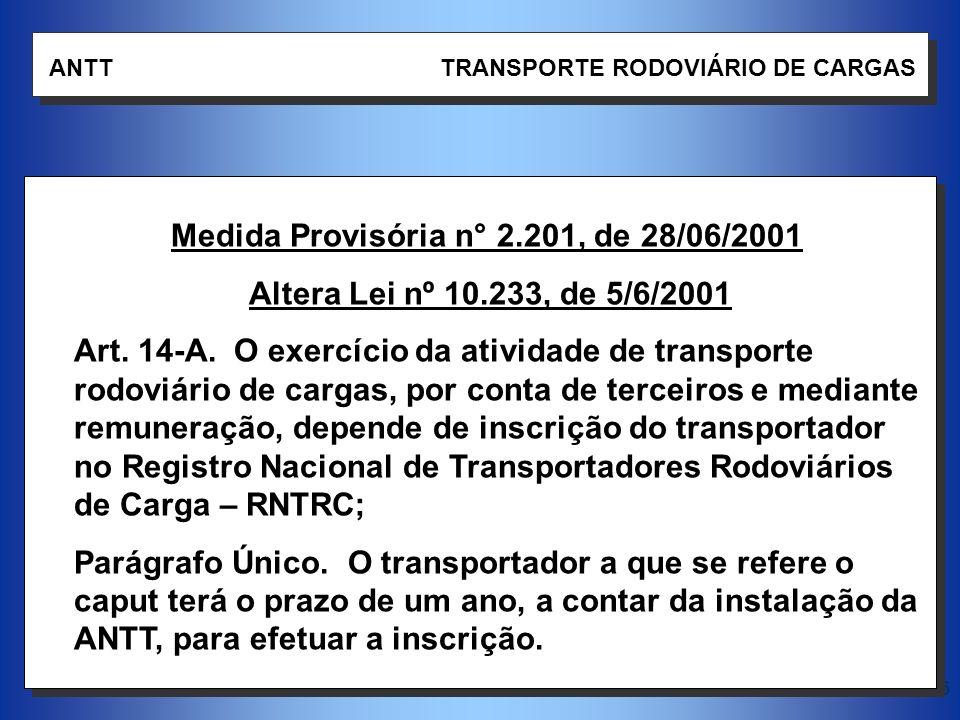 16 ANTT TRANSPORTE RODOVIÁRIO DE CARGAS Medida Provisória n° 2.201, de 28/06/2001 Altera Lei nº 10.233, de 5/6/2001 Art. 14-A. O exercício da atividad