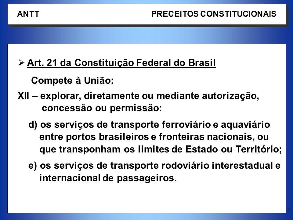 2 Art. 21 da Constituição Federal do Brasil Compete à União: XII – explorar, diretamente ou mediante autorização, concessão ou permissão: d) os serviç