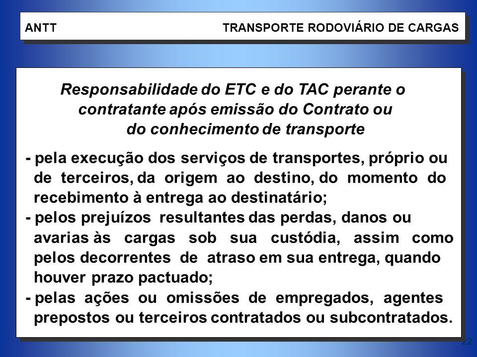 22 ANTT TRANSPORTE RODOVIÁRIO DE CARGAS Responsabilidade do ETC e do TAC perante o contratante após emissão do Contrato ou do conhecimento de transpor