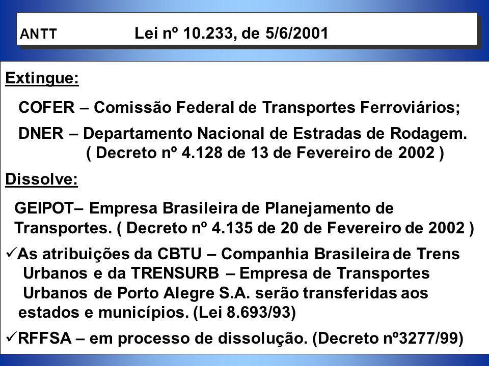 7 Vinculado à Presidência da República e presidido pelo Ministro dos Transportes.