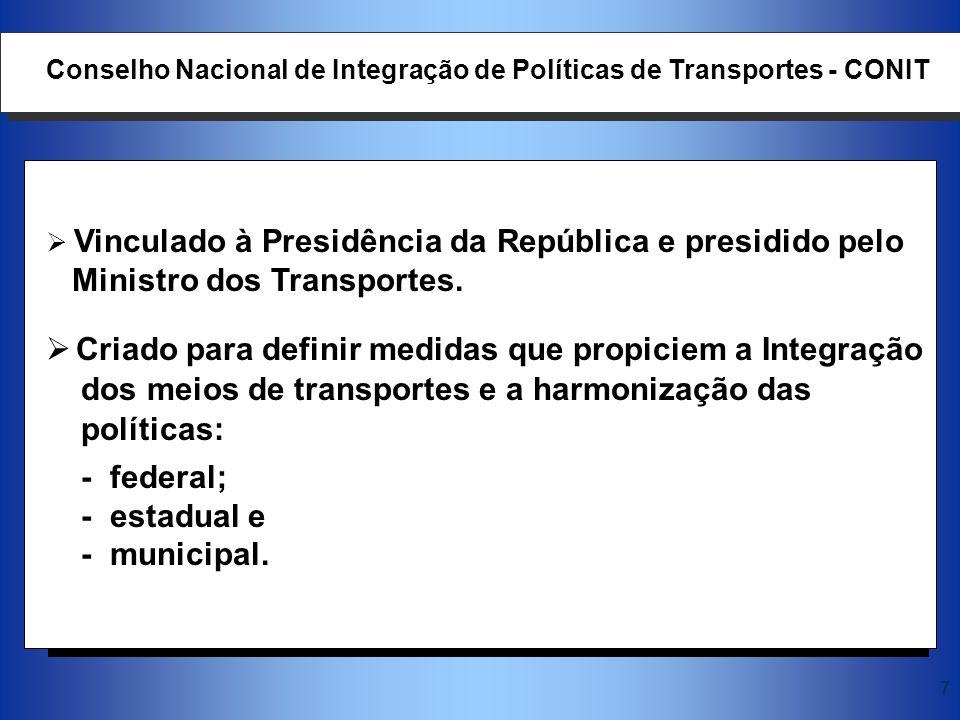 7 Vinculado à Presidência da República e presidido pelo Ministro dos Transportes. Criado para definir medidas que propiciem a Integração dos meios de