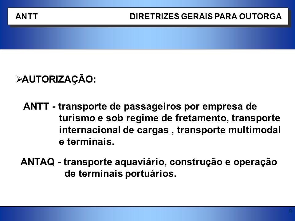 9 AUTORIZAÇÃO: ANTT - transporte de passageiros por empresa de turismo e sob regime de fretamento, transporte internacional de cargas, transporte mult