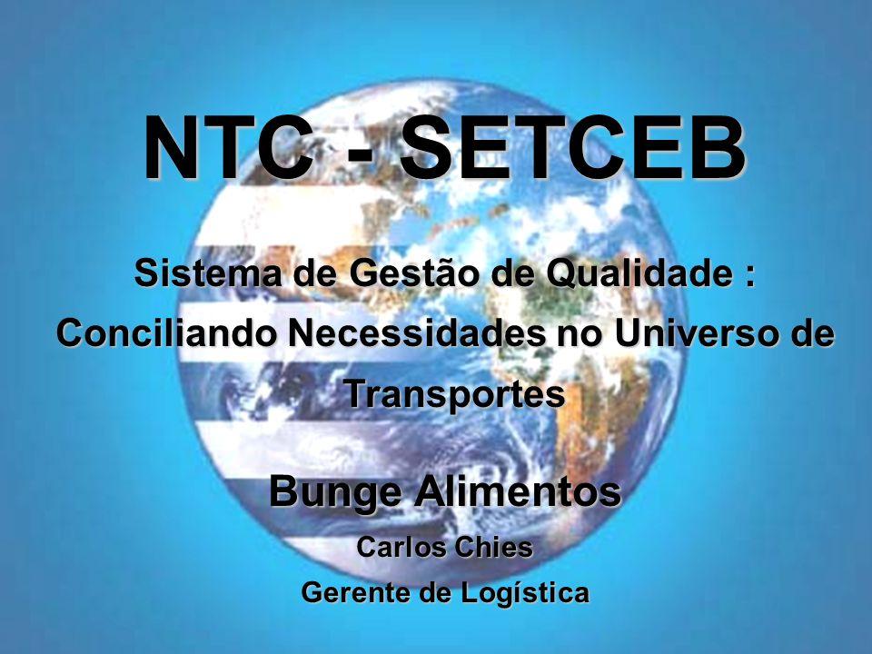 Bunge Alimentos Carlos Chies Gerente de Logística NTC - SETCEB Sistema de Gestão de Qualidade : Conciliando Necessidades no Universo de Transportes