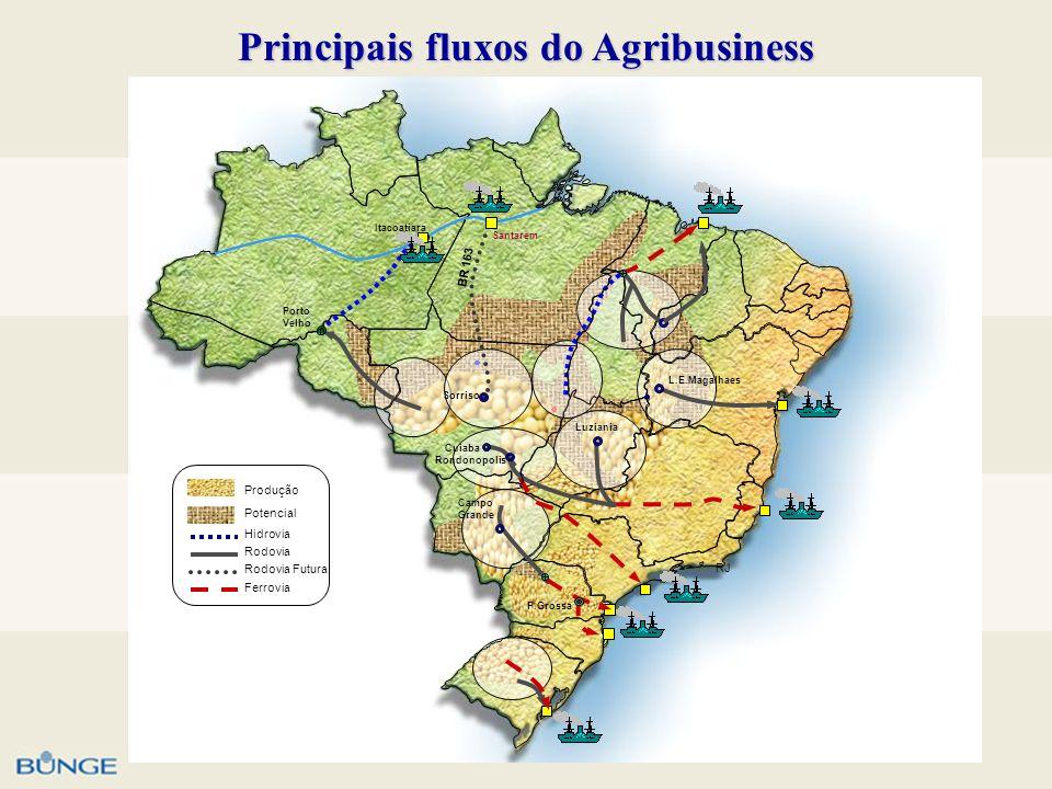Principais fluxos do Agribusiness BR 163 PA RJ L.E.Magalhaes Rondonopolis Cuiaba Luziania Santarem Campo Grande P.Grossa Sorriso Porto Velho Itacoatia