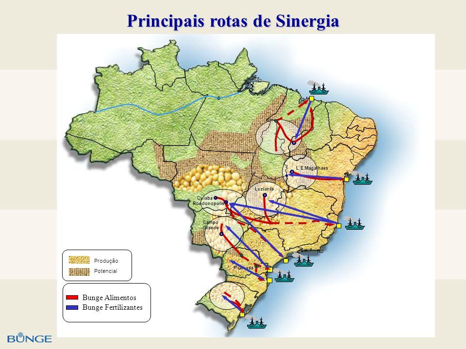 Principais rotas de Sinergia RJ L.E.Magalhaes Rondonopolis Cuiaba Luziania Campo Grande P.Grossa Potencial Produção Bunge Alimentos Bunge Fertilizante