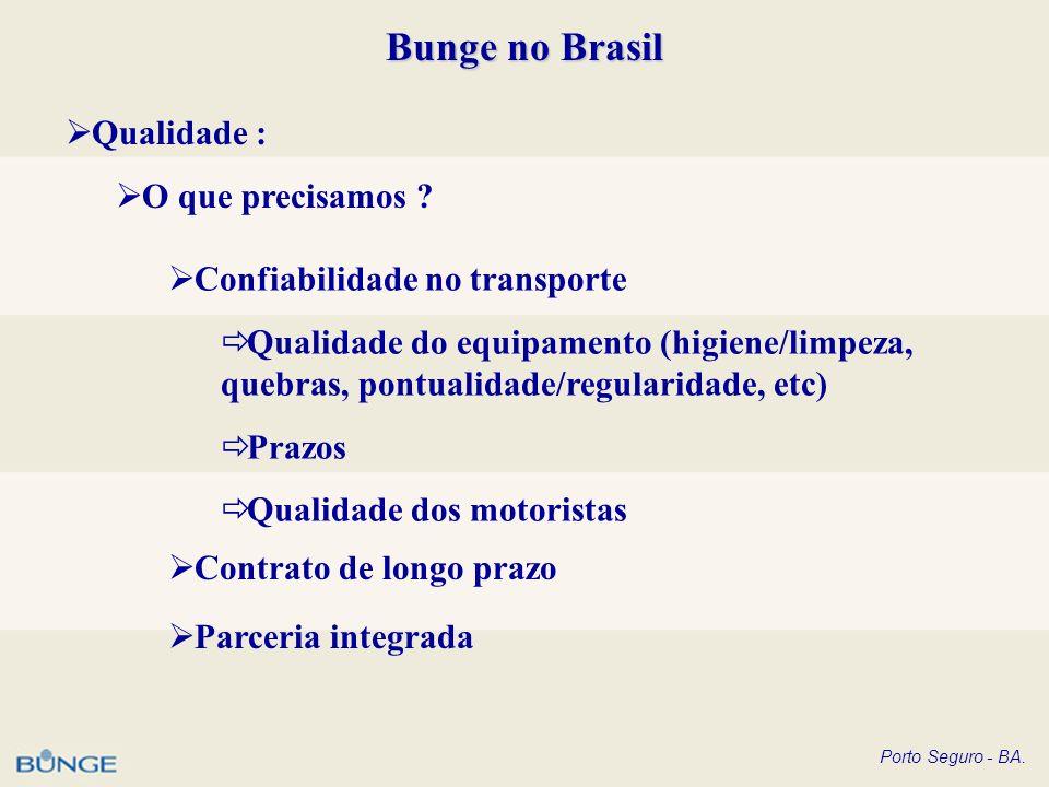 Porto Seguro - BA. Bunge no Brasil Qualidade : O que precisamos ? Confiabilidade no transporte Qualidade do equipamento (higiene/limpeza, quebras, pon