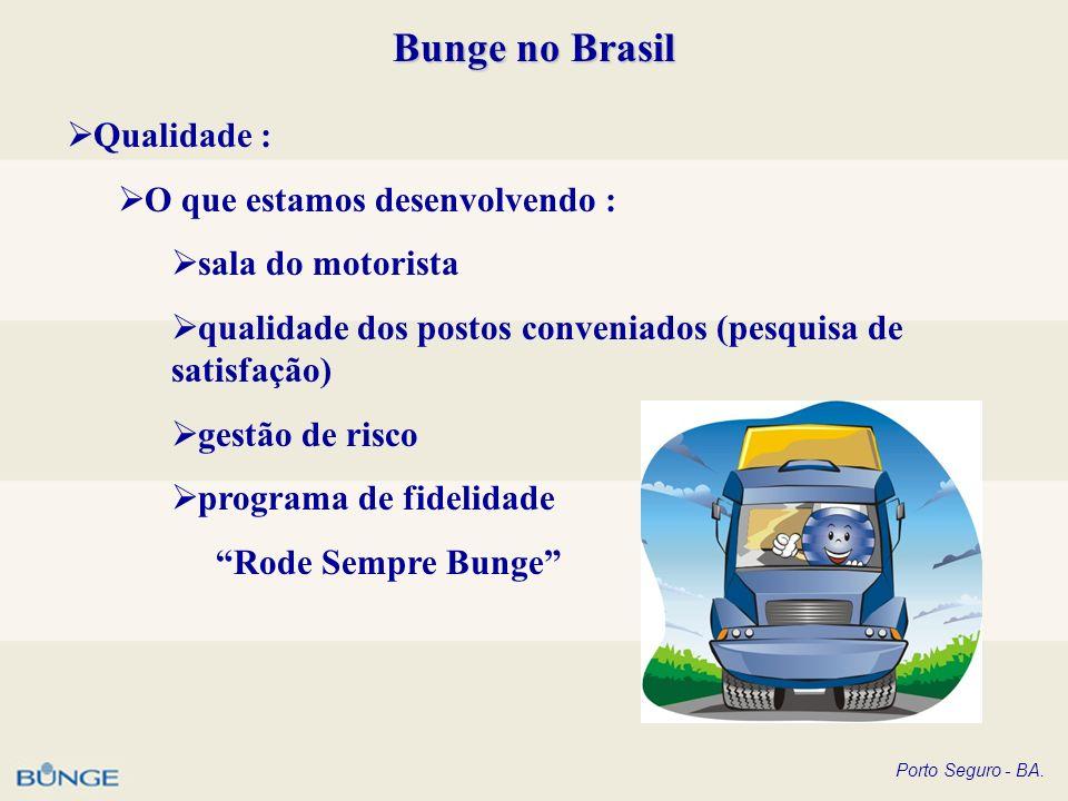 Porto Seguro - BA. Bunge no Brasil Qualidade : O que estamos desenvolvendo : sala do motorista qualidade dos postos conveniados (pesquisa de satisfaçã