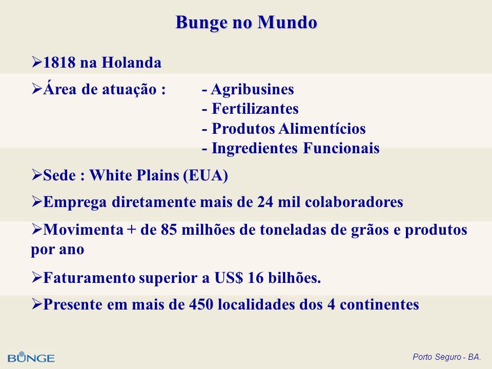 Porto Seguro - BA. Bunge no Mundo 1818 na Holanda Área de atuação : - Agribusines - Fertilizantes - Produtos Alimentícios - Ingredientes Funcionais Se