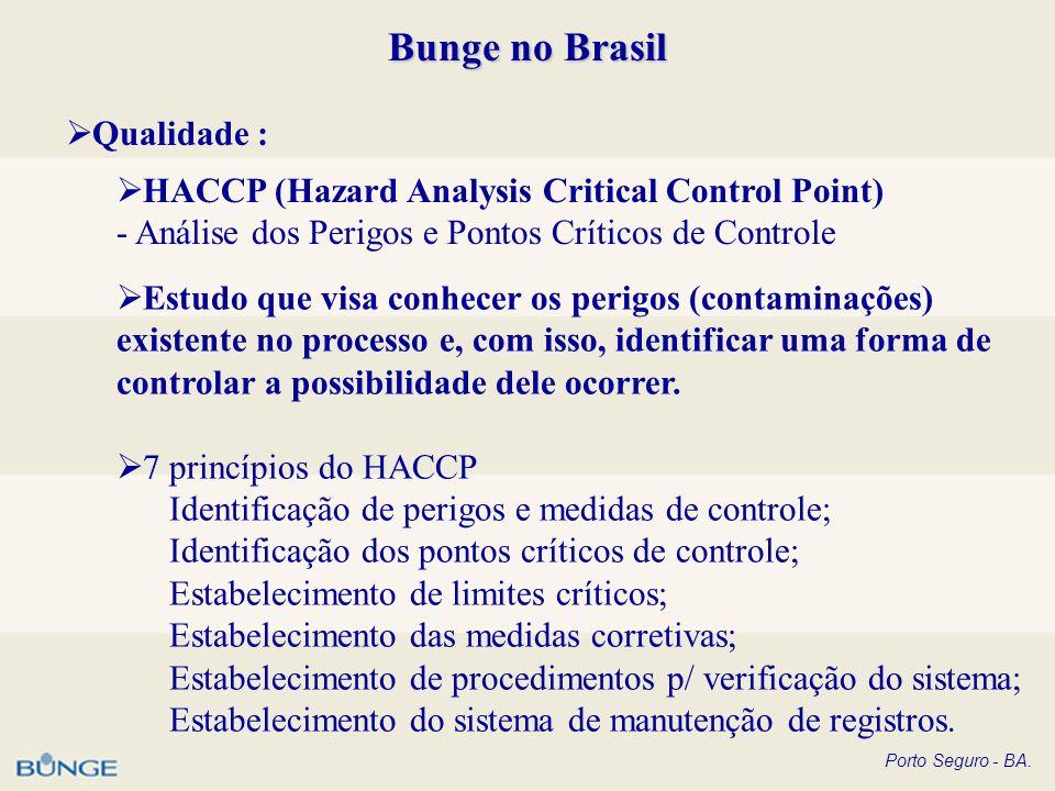 Porto Seguro - BA. Bunge no Brasil Qualidade : HACCP (Hazard Analysis Critical Control Point) - Análise dos Perigos e Pontos Críticos de Controle Estu