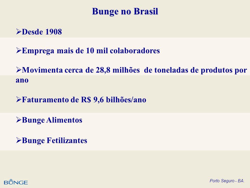 Porto Seguro - BA. Bunge no Brasil Desde 1908 Emprega mais de 10 mil colaboradores Movimenta cerca de 28,8 milhões de toneladas de produtos por ano Fa