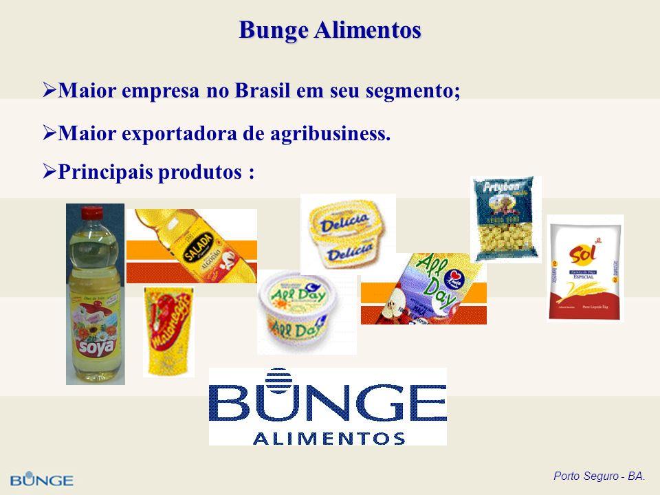 Porto Seguro - BA. Bunge Alimentos Maior empresa no Brasil em seu segmento; Maior exportadora de agribusiness. Principais produtos :