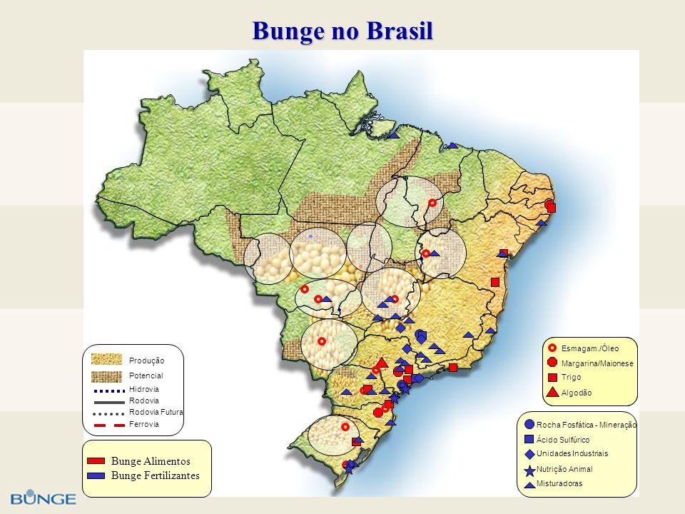 Bunge no Brasil Algodão Trigo Margarina/Maionese Esmagam./Óleo Rodovia Ferrovia Hidrovia Potencial Produção Rodovia Futura Nutrição Animal Unidades In