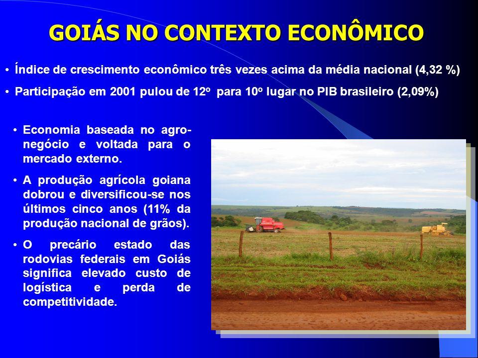 GOIÁS NO CONTEXTO ECONÔMICO Índice de crescimento econômico três vezes acima da média nacional (4,32 %) Participação em 2001 pulou de 12 o para 10 o lugar no PIB brasileiro (2,09%) Economia baseada no agro- negócio e voltada para o mercado externo.