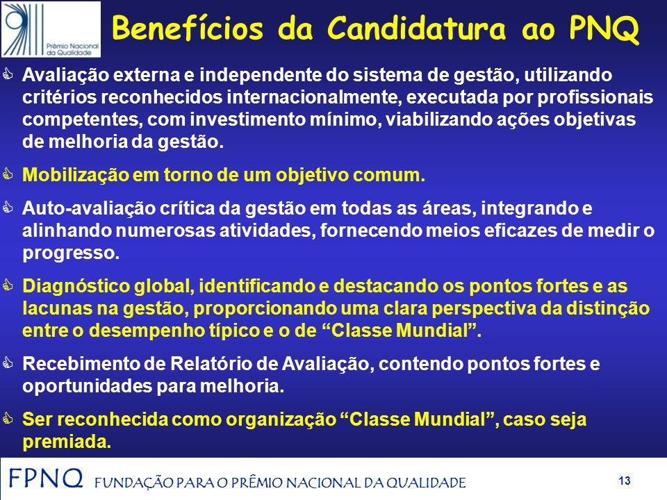 FPNQ FUNDAÇÃO PARA O PRÊMIO NACIONAL DA QUALIDADE 12 Benefícios para a Organização com a adoção do Modelo de Excelência do PNQ ® para a modelagem da g