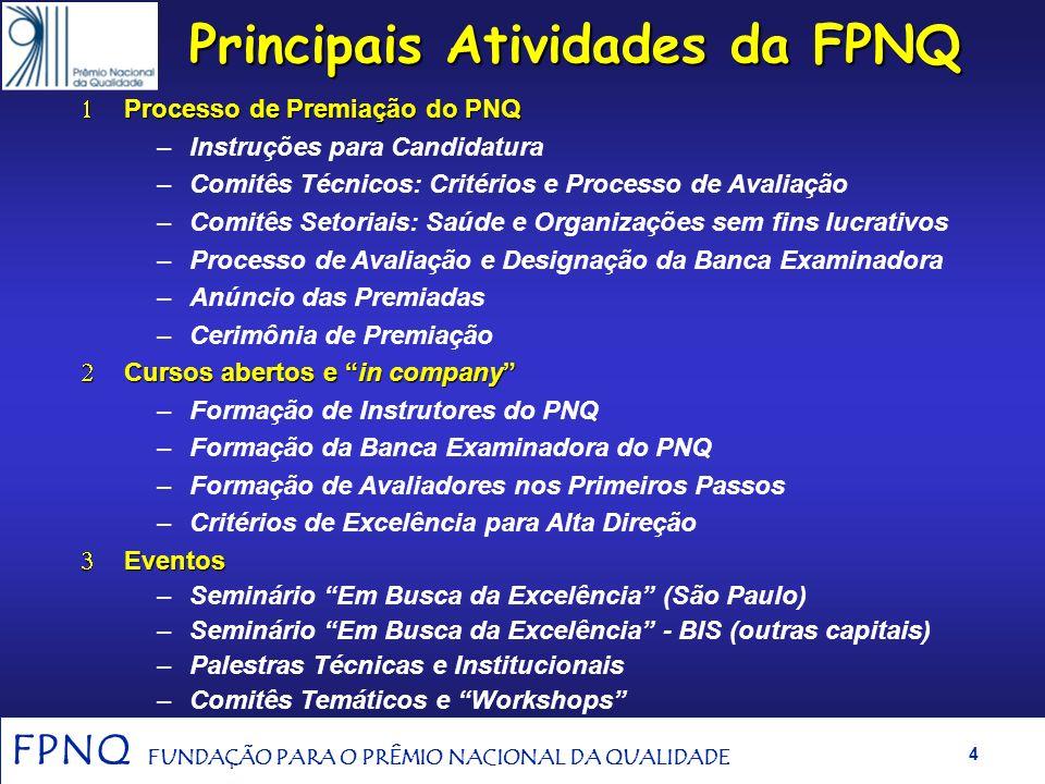 FPNQ FUNDAÇÃO PARA O PRÊMIO NACIONAL DA QUALIDADE 3 Missão Promover a conscientização para a qualidade e produtividade das empresas produtoras de bens
