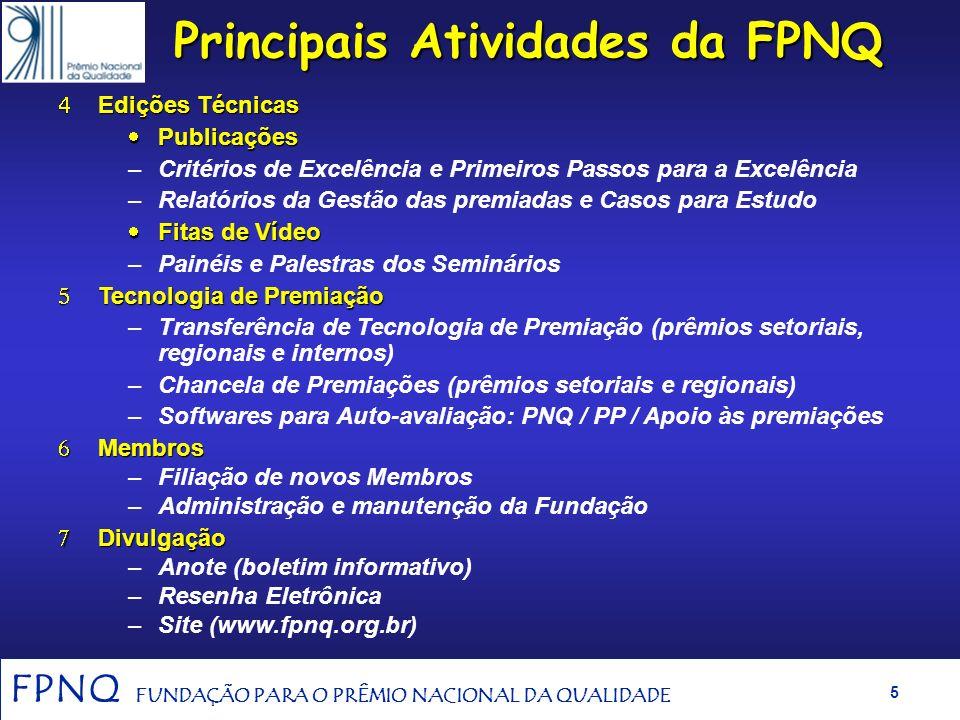 FPNQ FUNDAÇÃO PARA O PRÊMIO NACIONAL DA QUALIDADE 4 Principais Atividades da FPNQ Processo de Premiação do PNQ Processo de Premiação do PNQ –Instruçõe