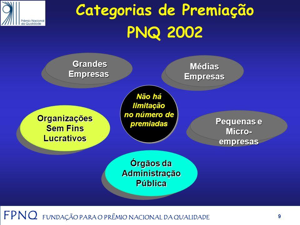 FPNQ FUNDAÇÃO PARA O PRÊMIO NACIONAL DA QUALIDADE 8 Banca Examinadora de 2001 17.000 horas de Trabalho Voluntário J211 Examinadores J30 Examinadores S