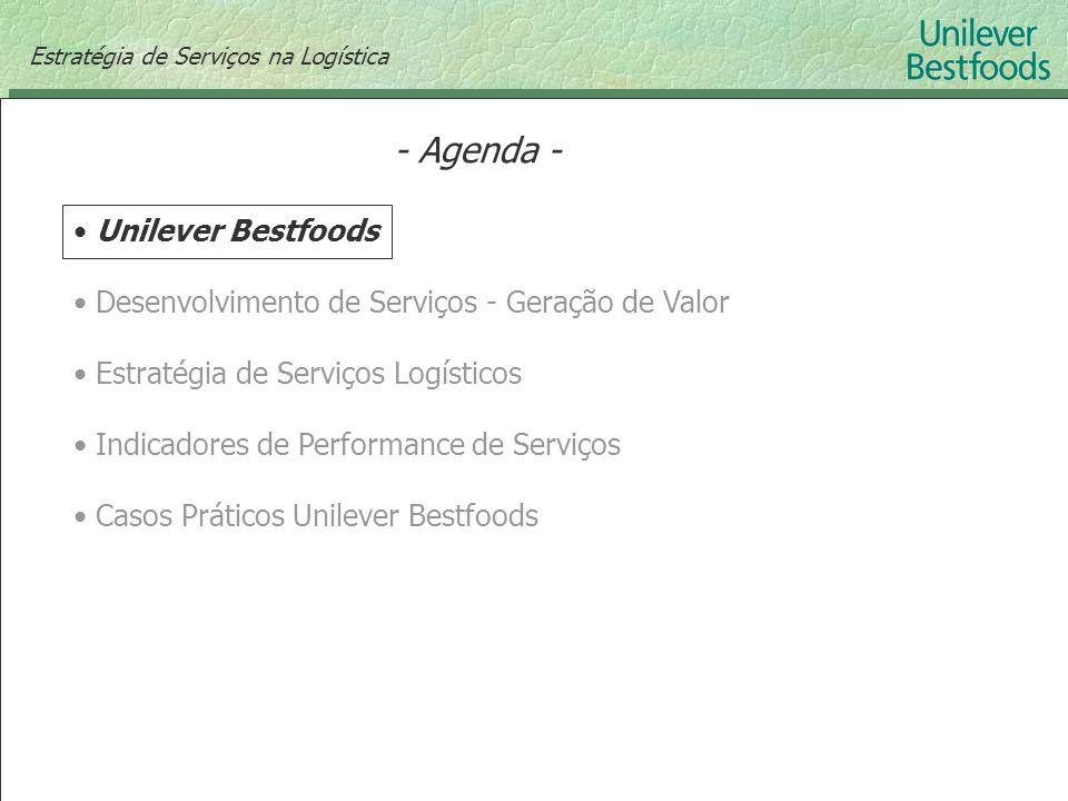- Agenda - Unilever Bestfoods Desenvolvimento de Serviços - Geração de Valor Estratégia de Serviços Logísticos Indicadores de Performance de Serviços