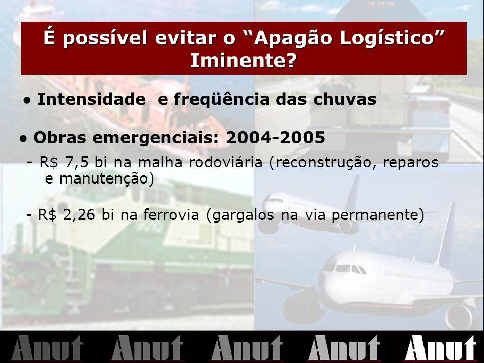 É possível evitar o Apagão Logístico Iminente? Intensidade e freqüência das chuvas Obras emergenciais: 2004-2005 - R$ 7,5 bi na malha rodoviária (reco