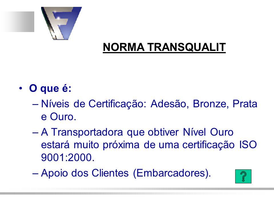 O que é: –Níveis de Certificação: Adesão, Bronze, Prata e Ouro. –A Transportadora que obtiver Nível Ouro estará muito próxima de uma certificação ISO