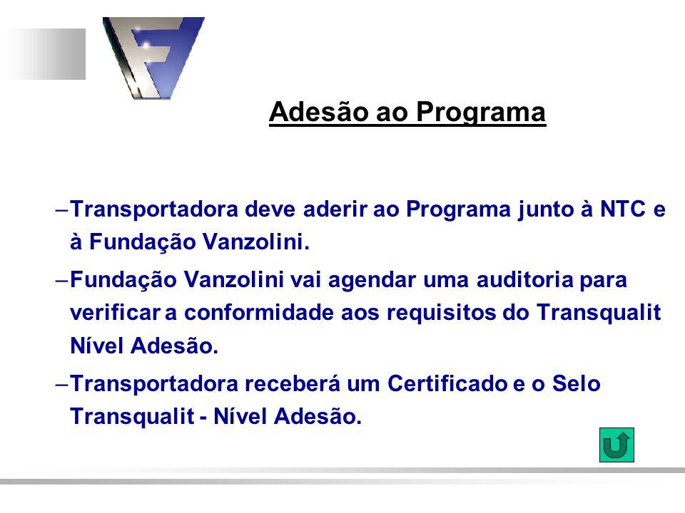 Adesão ao Programa –Transportadora deve aderir ao Programa junto à NTC e à Fundação Vanzolini. –Fundação Vanzolini vai agendar uma auditoria para veri