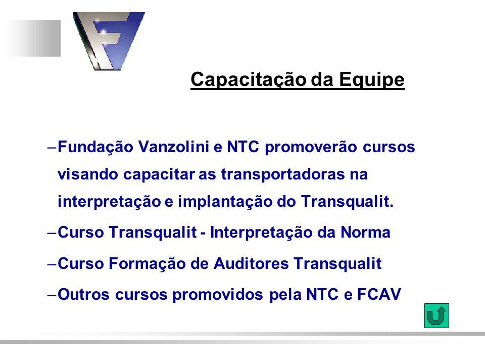 Capacitação da Equipe –Fundação Vanzolini e NTC promoverão cursos visando capacitar as transportadoras na interpretação e implantação do Transqualit.