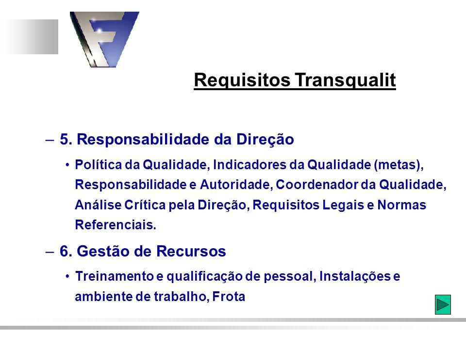 Requisitos Transqualit – 5. Responsabilidade da Direção Política da Qualidade, Indicadores da Qualidade (metas), Responsabilidade e Autoridade, Coorde