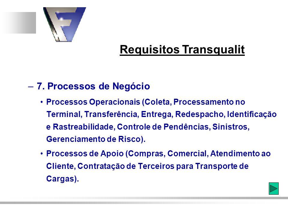 Requisitos Transqualit – 7. Processos de Negócio Processos Operacionais (Coleta, Processamento no Terminal, Transferência, Entrega, Redespacho, Identi