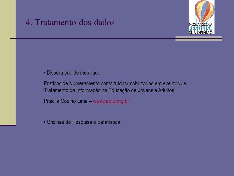 4. Tratamento dos dados Dissertação de mestrado: Práticas de Numeramento constituídas/mobilizadas em eventos de Tratamento da Informação na Educação d