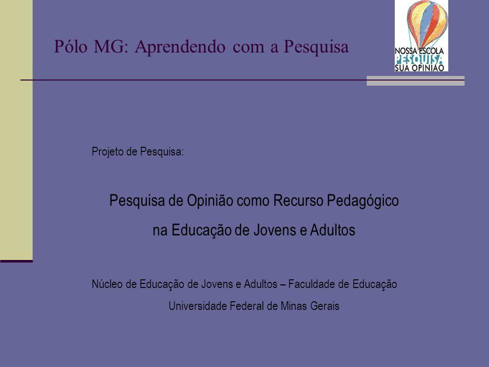 Pólo MG: Aprendendo com a Pesquisa Projeto de Pesquisa: Pesquisa de Opinião como Recurso Pedagógico na Educação de Jovens e Adultos Núcleo de Educação de Jovens e Adultos – Faculdade de Educação Universidade Federal de Minas Gerais