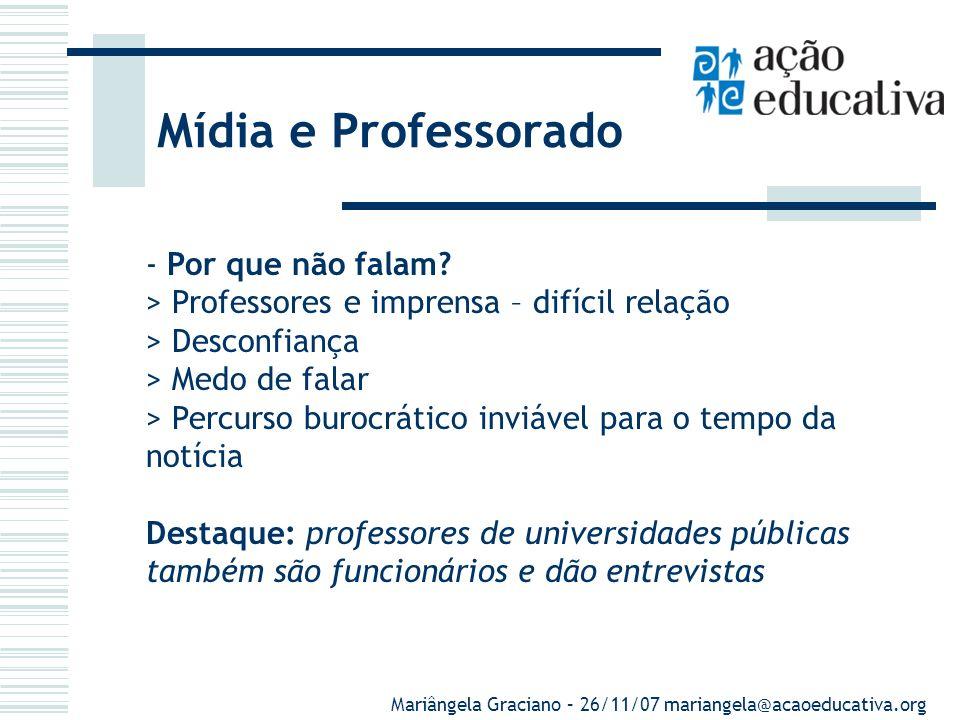 Mídia e Professorado - Por que não falam.